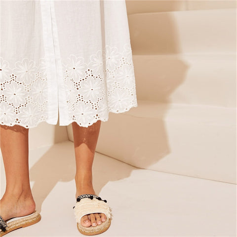 White Embroidered Eyelet Hem Button Up Boho Dress