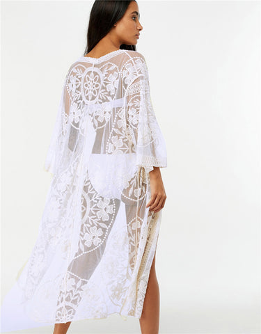 Flower lace beach cover up flare sleeve see through kimono