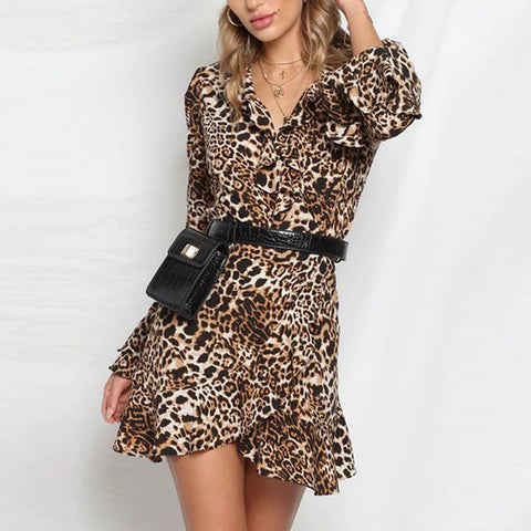 Sexy V Neck Leopard Long Sleeve Ruffled Hem Flare Sleeve Mini Wrap Dress