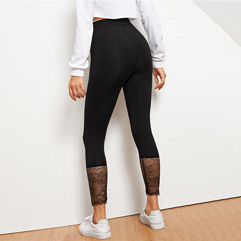 Black Lace Contrast Solid Legging