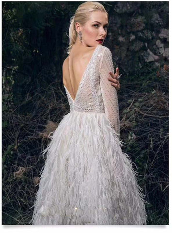 labor intensive beading sequin amazing feather White Dresses