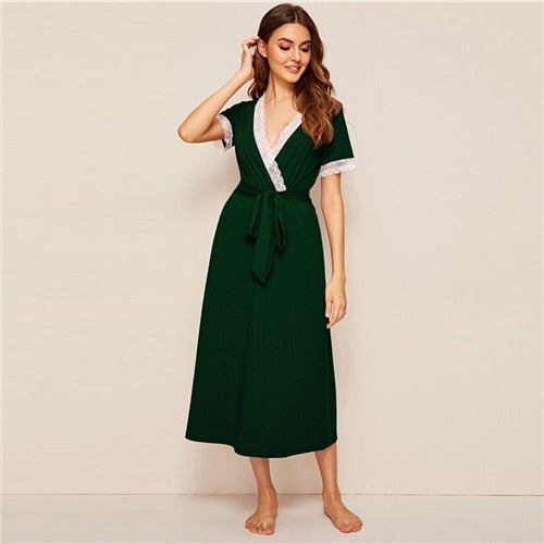 Green Deep V Neck Lace Trim Self Belt Wrap Dresses