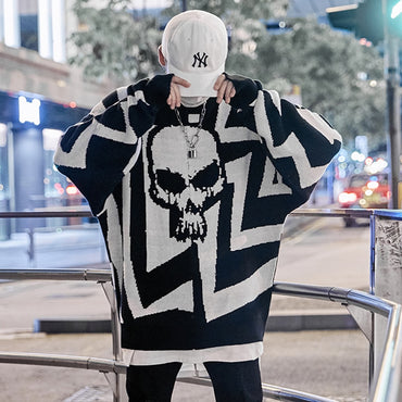 Color Patchwork Knit Hip Hop Casual Pullover Sweaters
