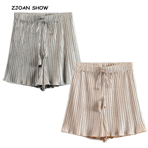 Elastic Lacing up Tassel High Waist Gold Silver Pleated Boho Bohemian Shorts