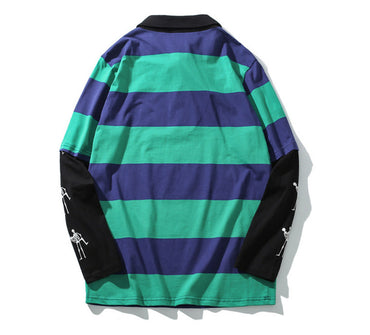 Turn-down Collar Striped Print Pullover College Style High Street Sweatshirt