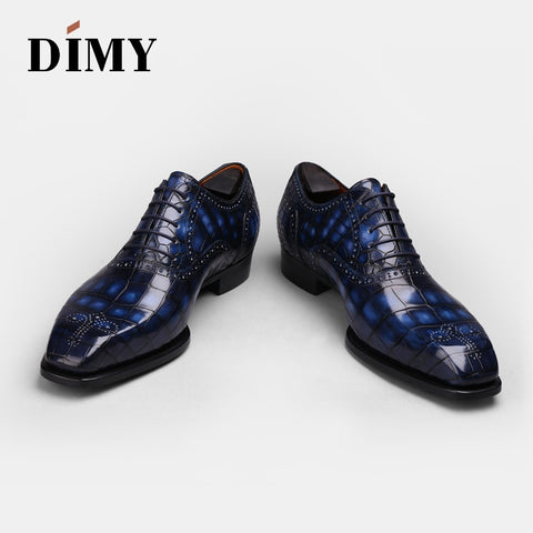custom hand painted crocodile leather Oxford Shoes