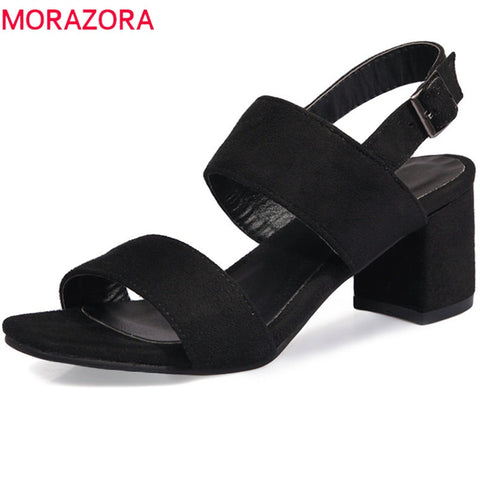 buckle comfortable med heels elegant flock Sandals