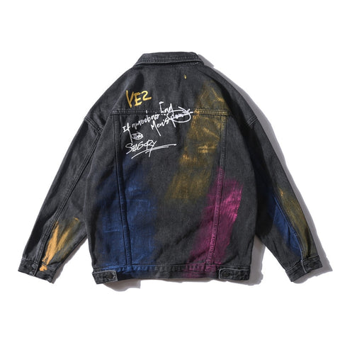 Dark Icon Hand Paint Flame Denim Jackets