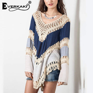 Patchwork Long Sleeve Loose Bohemian Blouse Shirts