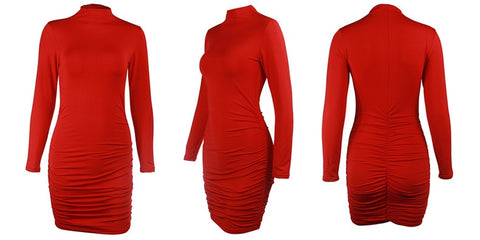Sexy Turtleneck Solid Ruched Basic Red Black High Neck Long Sleeve Bodycon Dress