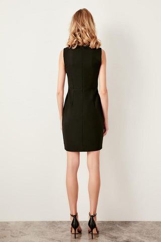Black Ecru Detail Straight Office Dresses