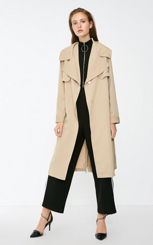 OL Style Two-tiered Lapel Lace-up Minimalist Wind Coat