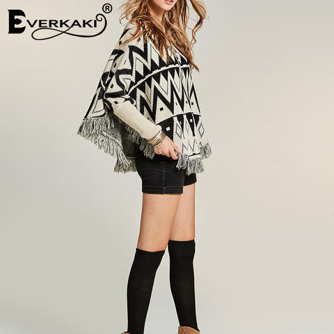 Tassels Knitted Thick Outerwear Ethnic Loose Boho Bohemian Sweaters