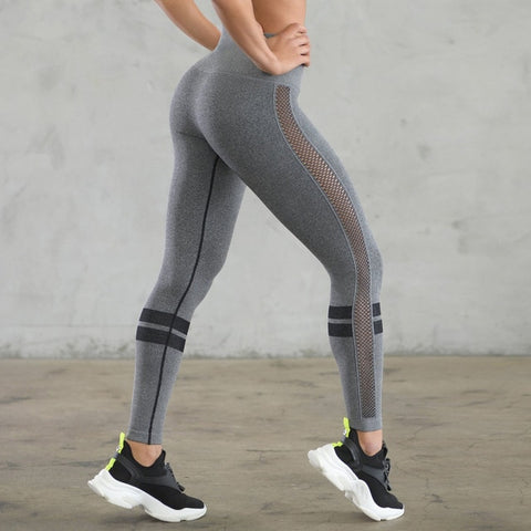 Gray Mesh Patchwork Striped Printed High Waist Stretch Leggings
