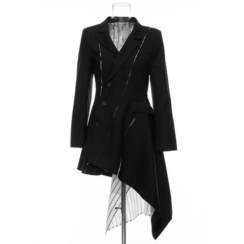 Asymmetrical V Neck Long Sleeve Striped Chiffon Patchwork Blazer Dresses