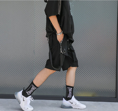 Black Ribbons Streetwear Bermuda Zipper Pockets Shorts
