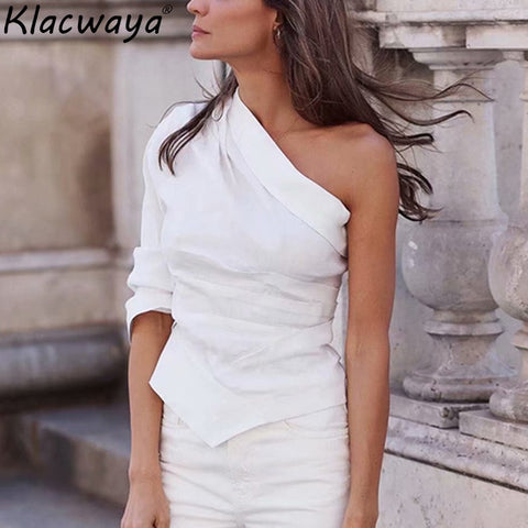 White One Shoulder Shirts Cotton Linen Chic Girls Casual Blouse