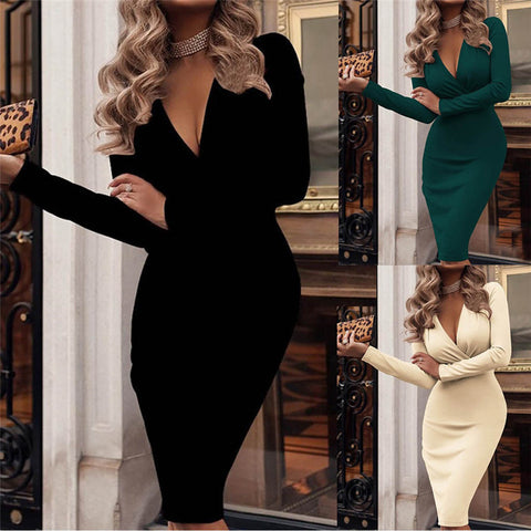 Bohemia Long Sleeved Deep V neck Fit Work Vintage Long Maxi Dresses