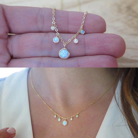 sterling silver opal gold chain elegant stunning lovely white opal pendant necklace