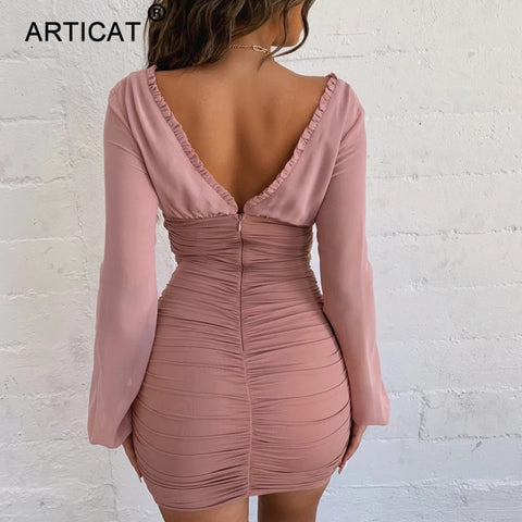 Chiffon Sexy Long Sleeve Slim Elastic Bodycon Bandage Party Dresses