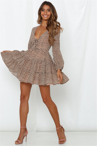 V Neck Long Sleeve Chiffon Short Lace Up Print Ladies Skater Leopard Dress