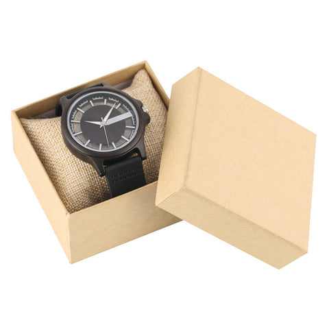 Transparent Hollow Dial Coffee Brown Black Wood Watches