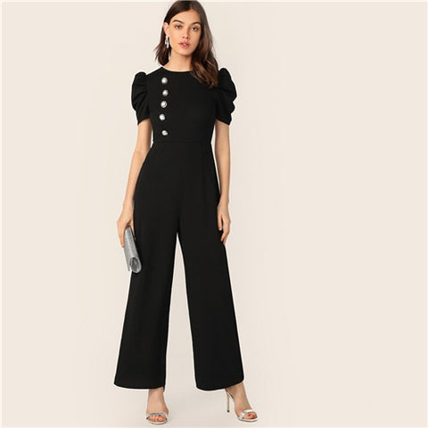 Button Embellished Puff Sleeve Wide Leg Jumpsuit