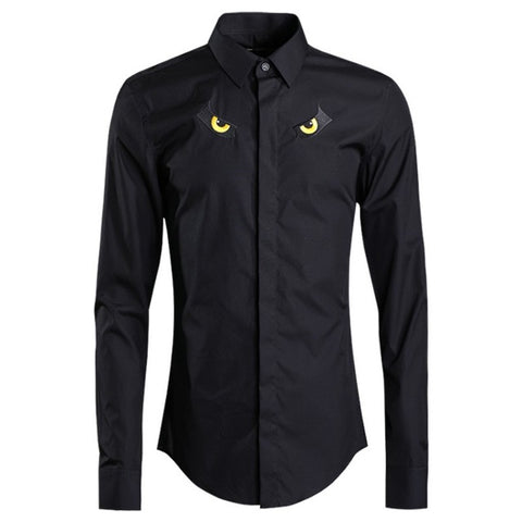 Eyes Embroidery Cotton Office Long Sleeve Slim Fit Dress Shirts