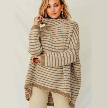 Khaki stripe turtleneck long sleeve Boho Bohemian Sweaters