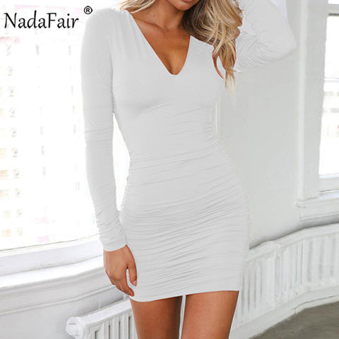 Bandage Ruched Backless V Neck Long Sleeve Sexy Dress