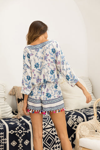Floral Print Deep V Neck Casual Long Sleeve Tassel Boho Bohemian Rompers