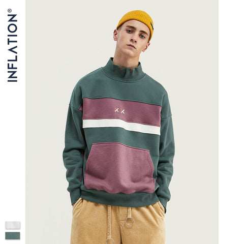 Block color Pouch Pocket Loose Fit Sweatshirt