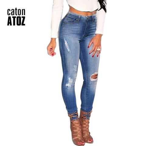 Cotton Stretch Ripped Knees Skinny Jeans