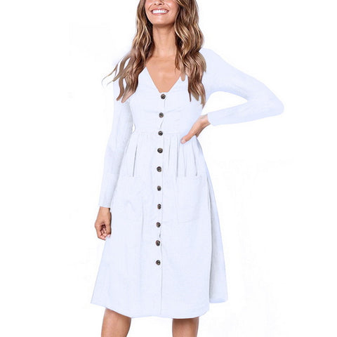Classic Short Sleeve V Neck Button Decorative With Pockets Midi Dresses