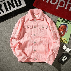 Ripped red white pink black Solid Denim Jackets