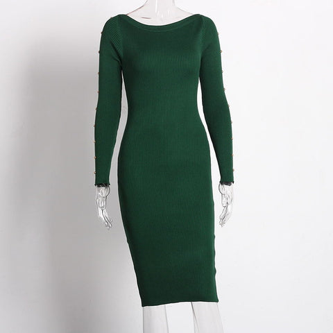 Knitted Button Long Sleeve Pencil Casual Knee Length Sweater Dress