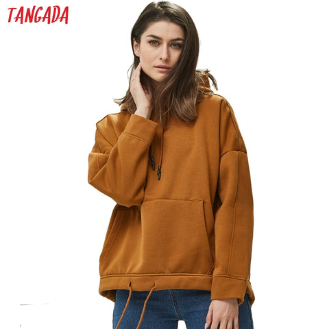 solid oversize pullovers Casual pocket hoodie