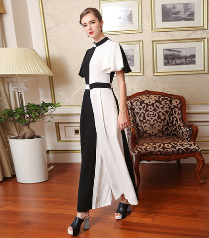 Silk Black White Stitching Classic Match Loose Casual Stand Collar Long Jumpsuit