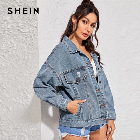 Blue Single Breasted Button Front Denim Jacket