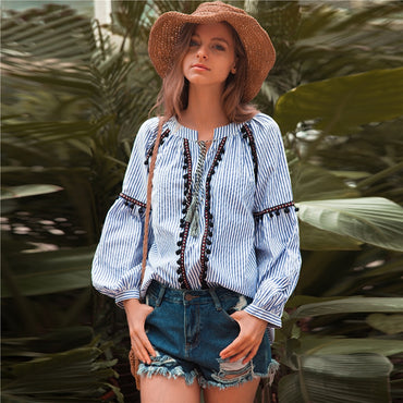 Elegant Embroidery Vintage Long Sleeve Striped Lace Up Bohemian Blouse Shirts
