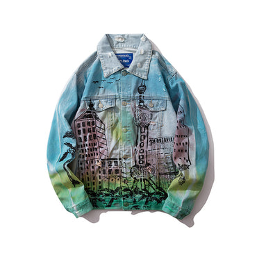 Hip Hop Printed Denim Jackets