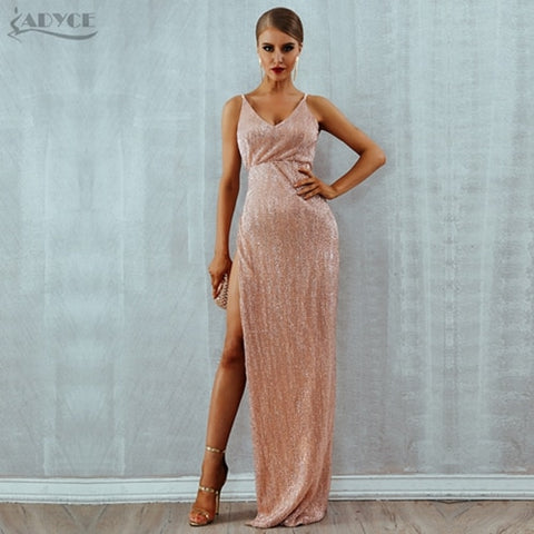 Sequined Sexy Sleeveless Spaghetti Strap Backless Maxi Dresses