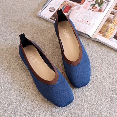 Square Toe Slip On Stretch Cozy Loafers Casual Flat shoes