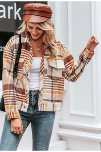 Single breasted plaid Long sleeve casual Jackets