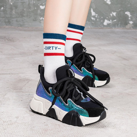 Round Toe Thick Bottom Mixed Colors Cross Tied Leisure Shoes