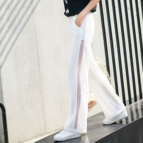 White Breathable Wide Leg Elastic High Waist Streetwear Pants