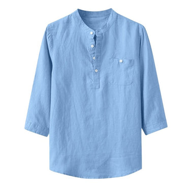 Baggy Cotton Linen Solid Pocket Stand Collar Short Sleeve Shirts