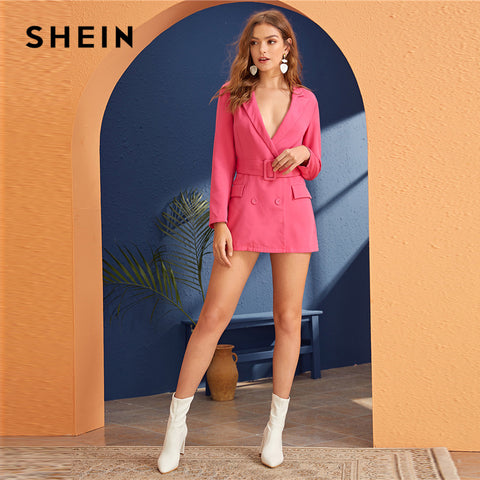 Bright Pink Deep V Neck Notched Elegant Blazer Dress