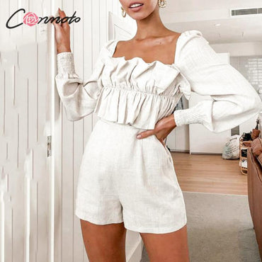 Long Sleeve With a zipper Casual Ruffle Rompers