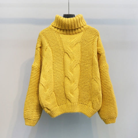 Knitted Turtleneck Pullovers Casual Soft Jumper Fashion Long Sleeve Sweater
